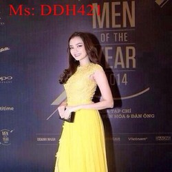 Đầm maxi dạ hội màu vàng chất liệu ren sang trọng phối xẻ đùi DDH421