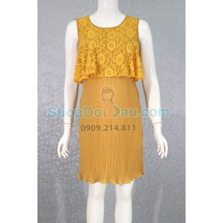 Đầm bầu cổ tròn - ren - dập ly - Voan 2 lớp
