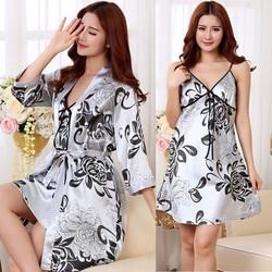 Set bộ đầm ngủ nữ kèm áo choàng họa tiết hoa gợi cảm duyên dáng-DN390
