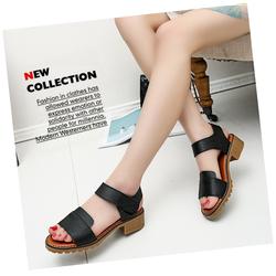Giày sandal nữ da mềm êm chân dáng thanh lịch màu đen