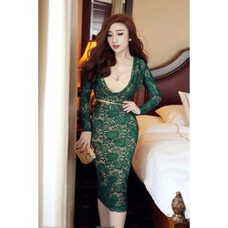 Đầm Ren Tay Dài Khoét Eo Sang Trọng