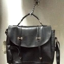 Balo nữ đen vừa làm túi đeo kiểu chữ nhật sành điệu BLDH170
