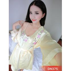 Set bộ đầm ngủ phi thêu hoa nổi kèm áo khoác choàng gợi cảm-DN375