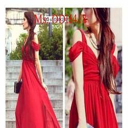 Đầm maxi bẹt vai sành điệu phối voan xẻ tà thời trang DDH41