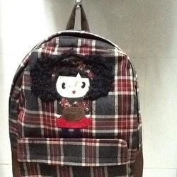 Balo đi học họa tiết caro hình cô gái dễ thương DLBH175