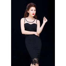 Đầm ôm body màu đen thiết kế pha ren sang trọng M3970