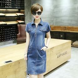 Đầm Jean Cổ Sơ Mi Phối Túi Tay Ngắn TP160