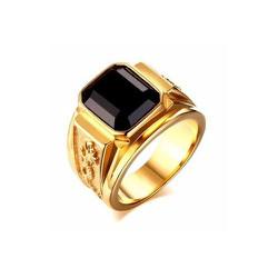 Nhẫn nam khắc rồng cẩn đá đen độc đáo