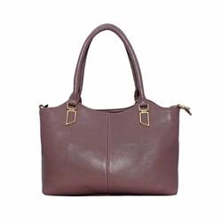 Túi xách nữ da bò thật ELMI màu hồng đậu ETM378