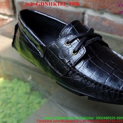Giày da nam công sở da cá sấu cột dây sang trọng GDNHK182