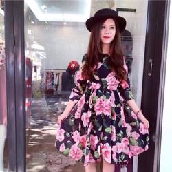 Đầm xòe hoa hồng cực xinh y hình