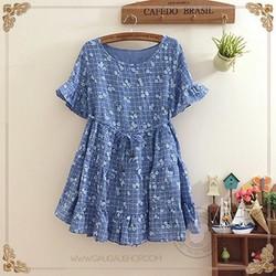 Đầm babydoll họa tiết thu vải xô