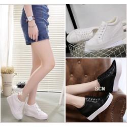 Giày bata da QC đế độn | giày nữ tăng chiều cao