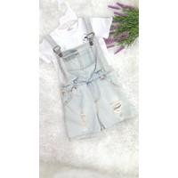 Yếm jean rách 2 dây kèm áo