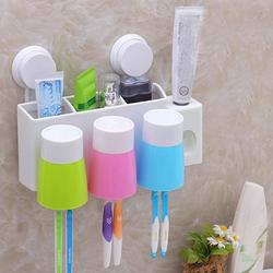 Dụng cụ nhả kem đánh răng gắn tường kèm 3 cốc đựng