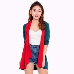 Áo khoác nữ cách điệu phối màu - Xanh coban Đỏ - CIRINO