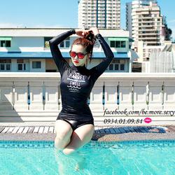 Đồ bơi nữ 2 mảnh dài tay body đen