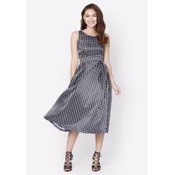 Đầm Vintage dài họa tiết chấm bi - Đen - CIRINO