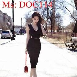 Đầm body cổ V khoét eo sành điệu và thời trang DOC114