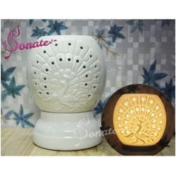 Con công điêu khắc - Đèn xông tinh dầu gốm Bát Tràng
