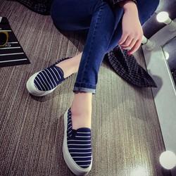 HÀNG NHẬP LOẠI I: Giày nữ họa tiết kẻ sọc phong cách Hàn