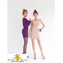 Đầm Body Tay Dài Bẹt Vai TH08453