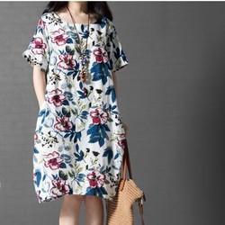 Đầm bầu suông ngắn tay váy in hoạ tiết hoa xinh xắn,trẻ trung-D2711