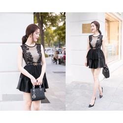Đầm xòe phối ren váy da quyến rũ cực xinh - AV5010