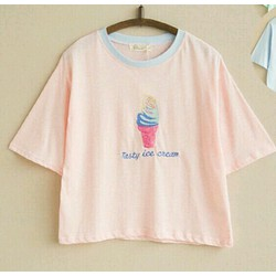 [XƯỞNG CHUYÊN SỈ] croptop thêu kem 2 màu xanh hồng HÀNG LOẠI 1