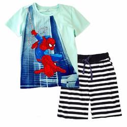 Bộ thun Spiderman phối quần sọc cho bé 28kg - 60kg