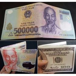 Bóp ví nam hình tiền 500k da xịn loại nhiều ngăn