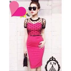 Ruby Shop 0110_chuyên sỉ lẻ_Đầm body hồng phối ren lưới bi