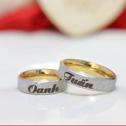 Nhẫn cặp inox mạ vàng phun cát - Nhẫn cặp khắc tên theo yêu cầu