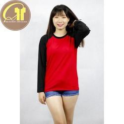 Áo raglan tay dài nữ màu đỏ tay đen