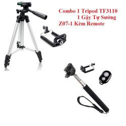 Combo Tripod TF3110 Và Gậy Tự Sướng Z07-01 Kèm Remote Bluetooth