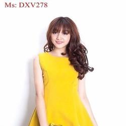 Đầm xòe công sở sát nách màu vàng trẻ trung xinh đẹp DXV278