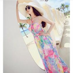 Đầm maxi đi biển voan yếm hoa gợi cảm-D2311