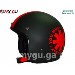 Mũ bảo hiểm cao cấp Canary TP77 - Đen nhám - Tem sao đỏ
