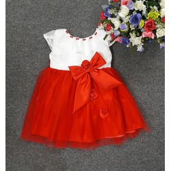 Đầm CC voan trắng đỏ đính hột cho bé gái
