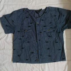 Áo crop top màu xanh đen