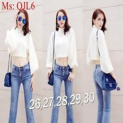 Quần jean nữ dài kiểu ống loe hàng thái cao cấp QJL60