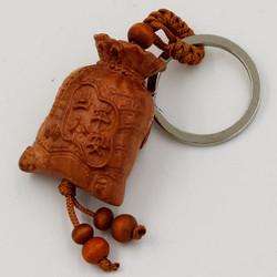 Bộ 3 móc khóa túi tiền khắc chữ Phúc 1A