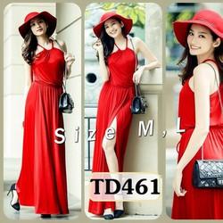 Đầm yếm maxi đỏ xẻ đùi TD461