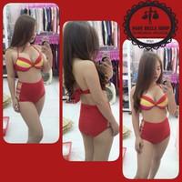 Bikini áo + quần lưng cao xẻ