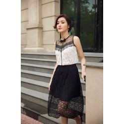 Set Áo Ren Và Chân Váy Ren Dập Ly Xinh Như Huyền My S291