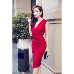 Đầm Ôm Body Kiểu Phối Nút Phong Cách Xẻ Tà Đẹp Như Ngọc Trinh