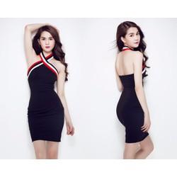 Đầm ôm body cổ yếm phối dây sọc đỏ trắng cực xinh - AV3791