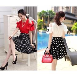 Bộ áo kiểu hở vai cột nơ và chân váy xòe xinh xắn - AV3831
