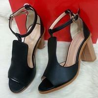 Giày gót vuông vân gỗ hàng xuất - LN418