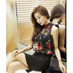 Set áo váy họa tiết hoa hồng cao cấp